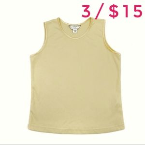 Allison Daley Yellow Ribbed Sleeveless Blouse Top